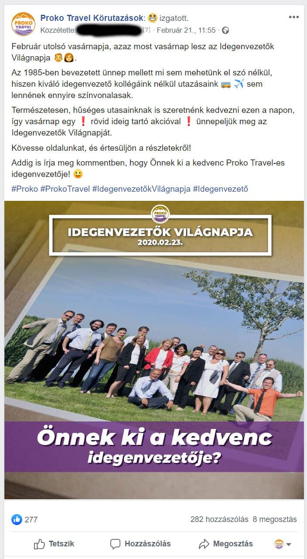 engagement típusú facebook poszt utazás